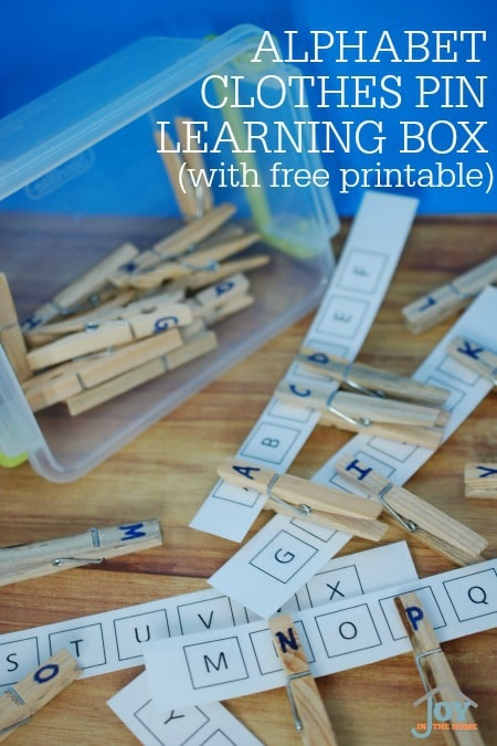 Alphabet Clothes Pin Learning Box - Hands-on learning of letter recognition. | www.joyinthehome.com