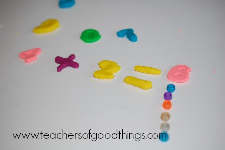Learning Addition with Play Dough five www.joyinthehome.com.jpg