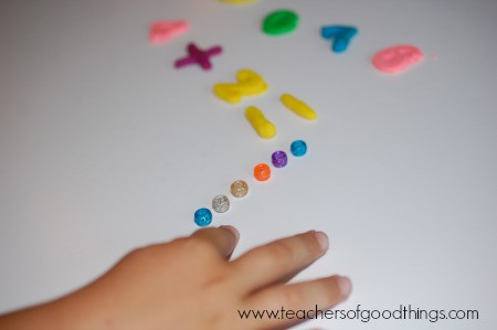 Learning Addition with Play Dough four www.joyinthehome.com.jpg