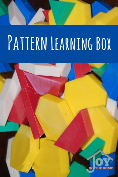 Pattern Learning Box - Early start on sorting by colors and shapes, while introducing a child to geometry through hands-on pattern play. | www.joyinthehome.com