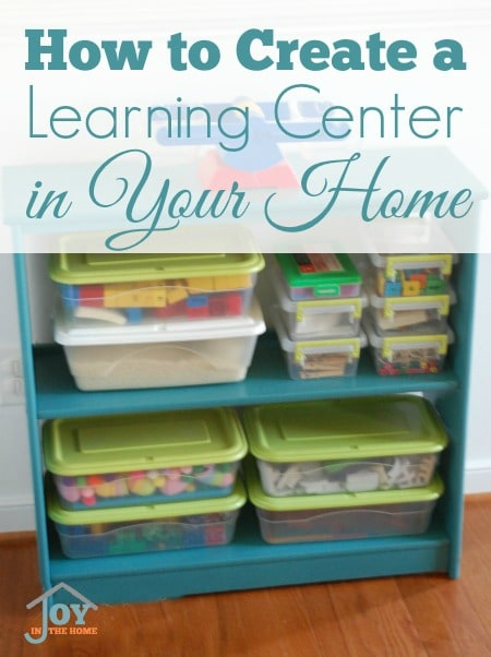 How to Create a Learning Center in Your Home - Making learning boxes accessible for kids will make it easier for them to learn independently.   www.joyinthehome.com
