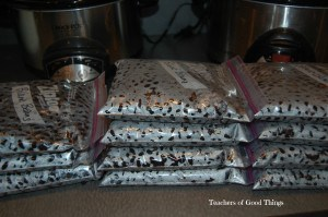 Beans in freezer bags