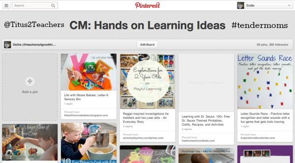Follow my Hands on Learning board from great #toddler and #preschool activities @Titus2Teacher from www.joyinthehome.com