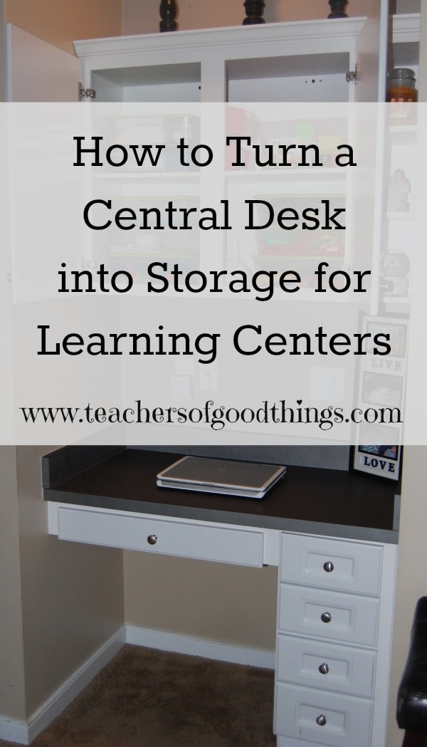 Use the Central Desk for #learningcenters for #preschool @Titus2Teacher from www.joyinthehome.com shares how she has created easy access to great learning centers.