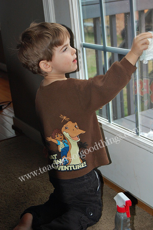 Preschooler washing windows