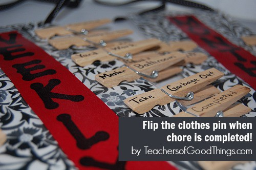 Flip the clothes pins over when chores are completed. DIY Chore System by www.joyinthehome.com
