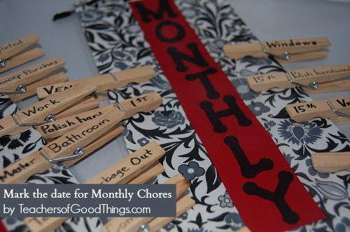Mark the date for the monthly chores on the DIY Chore System by www.joyinthehome.com