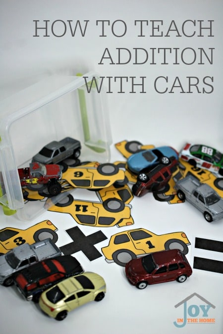 How to Teach Addition with Cars - Turn play time into learning time with this hands-on activity that teaches a child to add while playing with cars. | www.joyinthehome.com