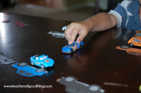 Teaching colors with cars and parking spaces www.joyinthehome.com.jpg