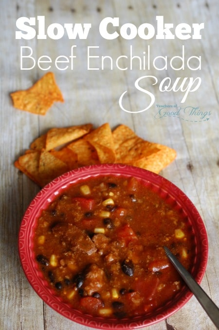 Slow Cooker Beef Enchilada Soup - Easy to put together and delicious! | www.joyinthehome.com