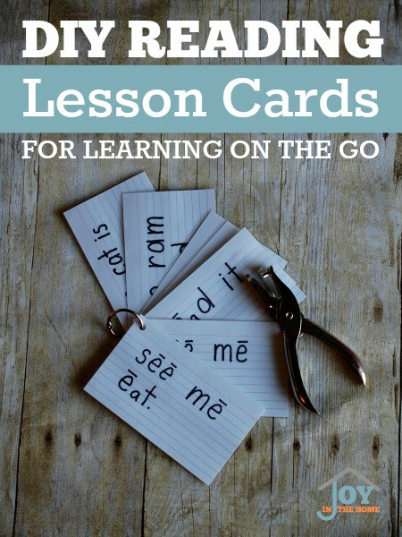 DIY Reading Lesson Cards for Learning on the Go - Practice reading in the car, at waiting rooms or when visiting loved ones. | www.joyinthehome.com