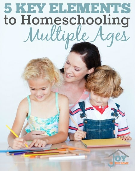 5 Key Elements to Homeschooling Multiple Ages - These will eliminate the stress and give you joy in your homeschooling journey! | www.joyinthehome.com