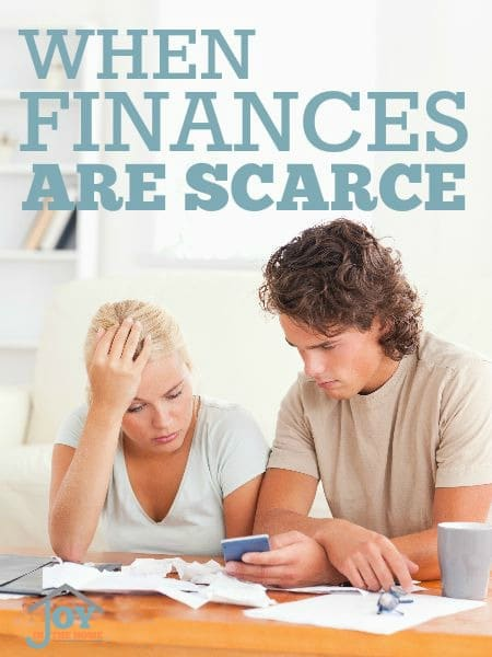 When Finances Are Scarce - Tight times are difficult, but finding ways to make it easier can make even the hardest budget better. | www.joyinthehome.com
