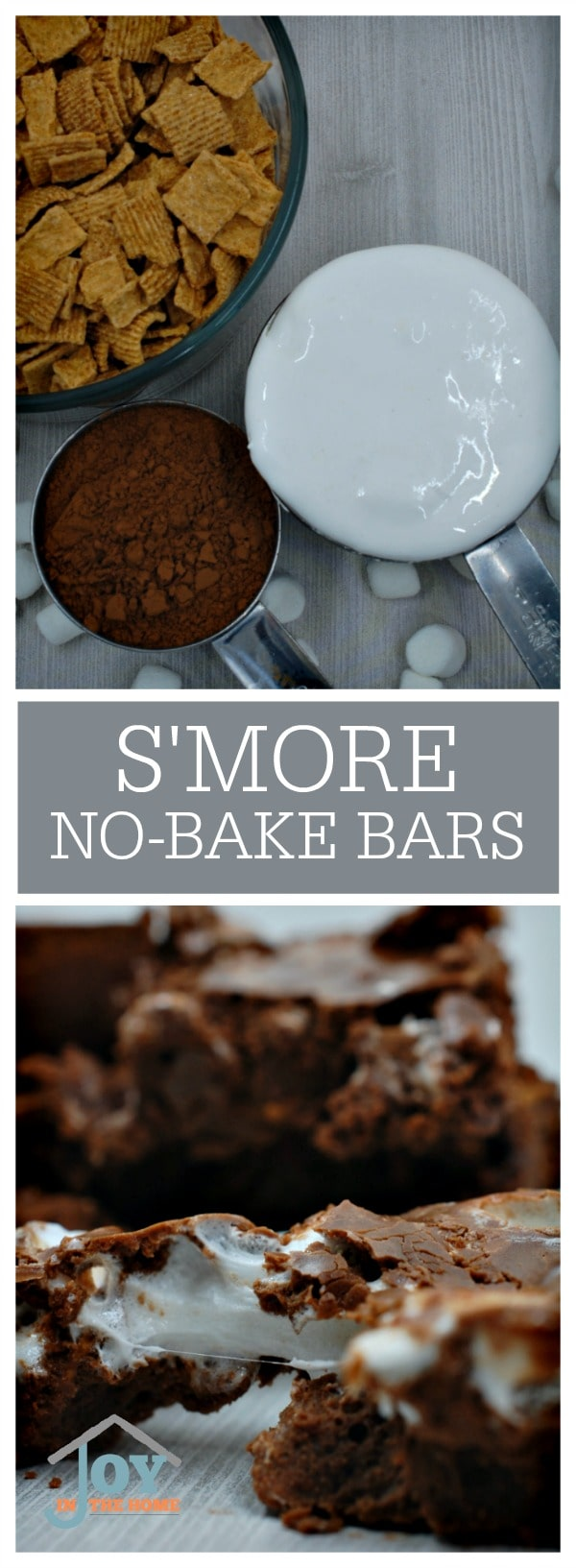 S'more No-Bake Bars - We doesn't love the taste of chocolate, graham crackers and marshmallows? These quick and easy bars are delicious! | www.joyinthehome.com