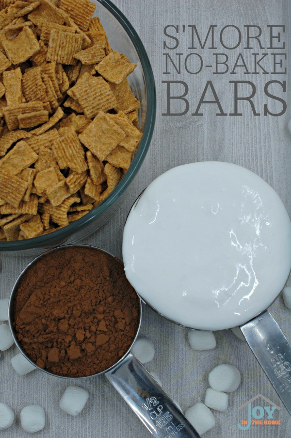 Chocolate, graham crackers and marshmallows make us all think of S'mores. This no-bake recipe delivers the s'more taste in a bar! | www.joyinthehome.com